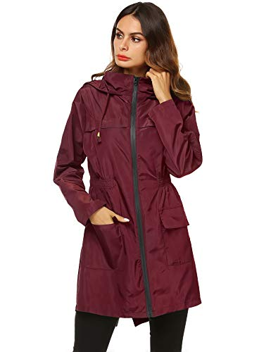 AKEWEI Women Lightweight Raincoat Waterproof Trench Coat Windbreaker Hiking Rain Jacket Breathable Summer Coat Wine Red XL