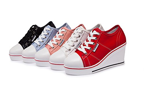 Toile Mode Zetiy Montante Baskets Casuel Compensées Chaussures Sneakers Femme Tennis de Sport UnxSp7qCw