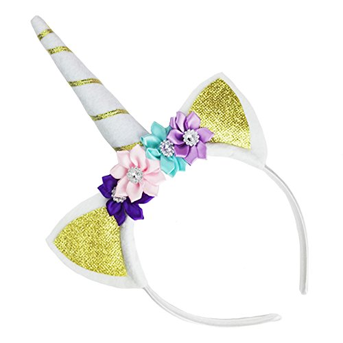 Unicorn Headband Horn Flowers Ears Headbands Gold Glitter Hair Hoop Girls Kids Party Decoration Rhinestone Crystal Headdress Cosplay Costume Headwear Halloween Makeup Spiral Crown Handmade Headpiece