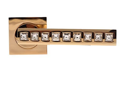 Nickel Crystal Lever - Pair of Rose Gold Designer Firenze CRYSTAL DOOR HANDLES, Lever Style, made from Glass Crystal and Satin Nickel Finish, With Fixings and Escutcheons included by Crystal & Gems UK