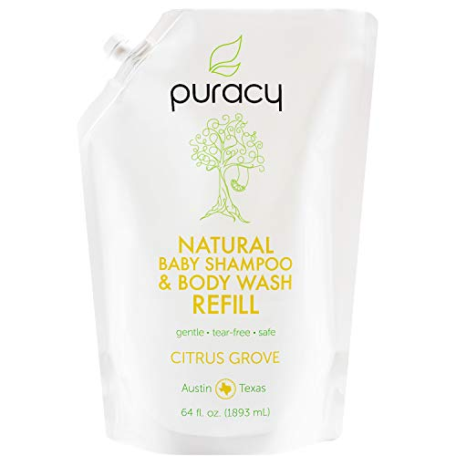 Puracy Natural Baby Shampoo & Body Wash Refill, Tear-Free Soap, Sulfate-Free, Hypoallergenic, 64 Ounce