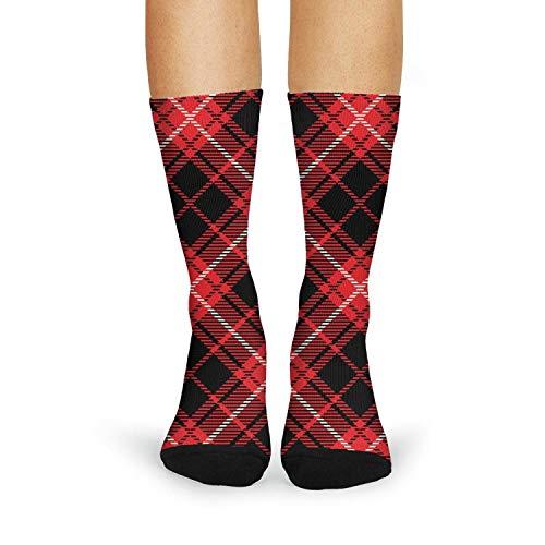 Print Red Black Checkerboard British Plaid Mosaic Fashion Women's Sporty Tube Socks