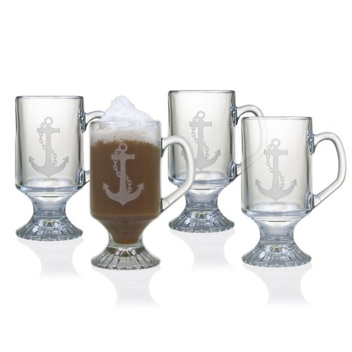Susquehanna Glass Nautical Anchor Sand Etched Footed Glass Mugs, Set of 4, 10 ounces (Glass Footed Mug)