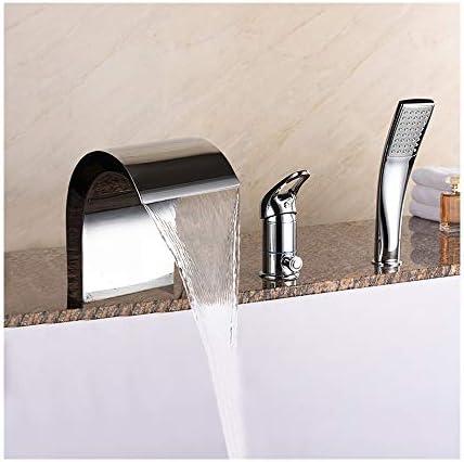 クロム浴槽の蛇口真鍮の浴室の浴槽の蛇口の滝のシャワーセットシングルハンドル3ホールデッキハンドヘルドシャワー、温水と冷水が付いている浴槽タップ
