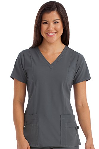 Med Couture Activate Scrub Top Women, V-Neck Princess Seam Top, Pewter, Small from Med Couture