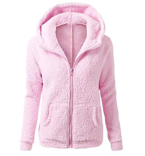 XINHEO Women's Solid Autumn Plush Zip Up Slim Fit Hood Outwear/Overcoat Pink