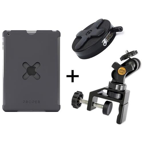 Tether Tools iPad Utility Mounting Kit, Includes X Lock iPad Air 2 Case, EasyGrip ST Clamp (Up to 1.5'' Wide), X Lock Connect Lite Bracket, Gray