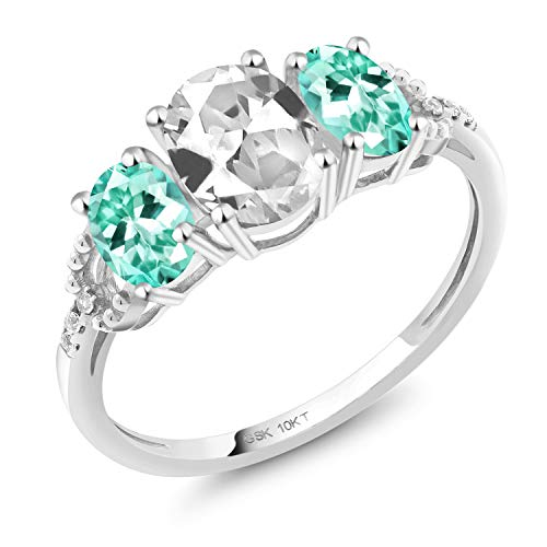- Gem Stone King 2.07 Ct Oval White Created Sapphire Blue Apatite 10K White Gold Ring (Size 6)