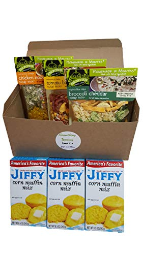 (Frontier Soups Homemade In Minutes Ultimate Comfort Food Bundle Care Package (1) Connecticut Cottage Chicken Noodle (1) Mississippi Tomato Basil (1) Virginia Broccoli Cheddar (3) Jiffy Cornbread 8.5oz)