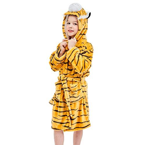 IDGIRLS Kids Animal Hooded Soft Plush Flannel Bathrobes for Girls Boys Sleepwear Yellow Tiger M -