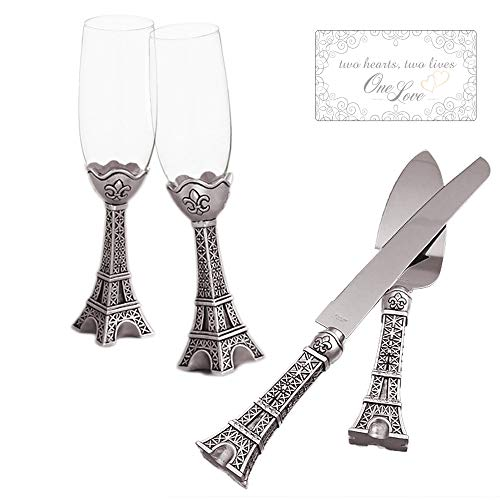 Fashioncraft Wedding Cake Knife and Server Set with Wedding Champagne Flutes Glass, Cake Cutting Set for Wedding Eiffel Tower Design