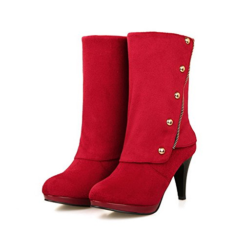 Boots Red Allhqfashion Rivet On Heels with Toe Round Imitated Women's High Closed Pull Suede Solid 6qWwr6AOP