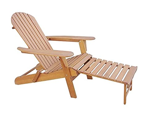 Solid Eucalyptus Wood Foldable Adirondack Chair with Pullout Ottoman in Natural Color. Ergonomic design & Can be folded for storage or bringing to picnics by Amayo (Adirondack Chairs With Ottoman)