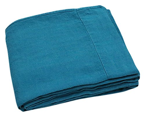 LinenMe Stone Washed Bed Linen Flat Sheet, Marine Blue 41 2Bhmvy 2BmUL