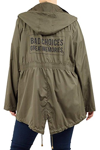 Choices Jacket Waterproof New Selfie Fishtail Womens Khaki 18 Size Raincoats Click 24 Plus Contrast Zip Parka P6q5q0wx