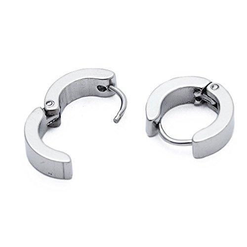 SODIAL(R) Paire Hommes Acier Titane Anneau Boucles d'oreilles 4mm x 9mm Blanc
