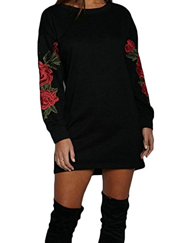 Embroidered Hoody Tunic - Long Sleeve Pullover Hoodie Sweat Shirt With Embroidered Rose (Label XL/US 10-12, Black)