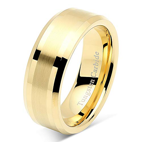 8mm Men's Tungsten Carbide Ring Wedding Band 14k Gold Plated Jewelry Bridal Size 8-16 (10)