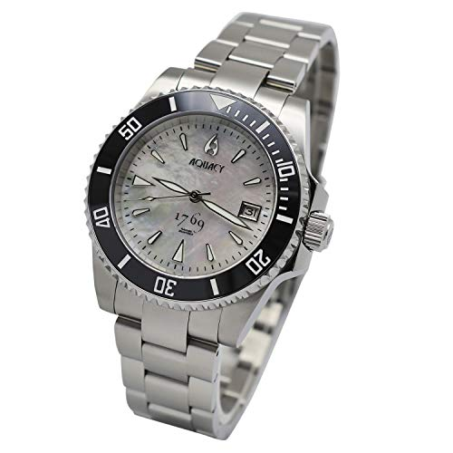 Aquacy 1769 Men's Automatic 300M White Mother of Pearl Dive Watch Swiss ETA 2824 Double Locking Diver ()