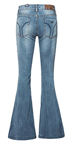AvaCostume Women's Mid-Rise Bell-Bottom Wide Leg Flare Jeans, Light Blue 2 (Womens Leg Flare Jeans)