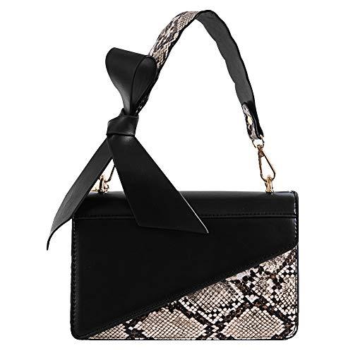 Felice Leather Bowknot Tote Top Handle Handbag Chain Shoulder Bag Snakeskin Print Satchel Purse (black96)