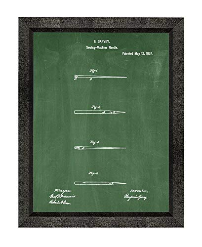Sewing Needle Patent Art Green Chalkboard Print in a Beveled Black Wood Frame (20'' x 24'') M15827 by Frame a Patent (Image #4)