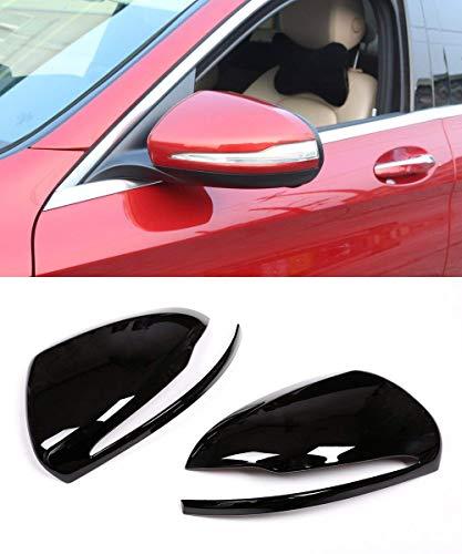 (Left Hand Drive ABS Chrome Plastic Car Rearview Mirror Cap Cover Trim Piano Black for Mercedes Benz C class w205 GLC X253 E class)