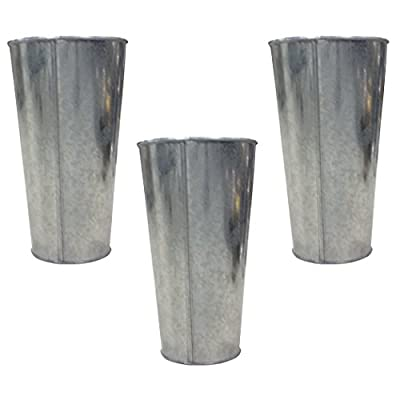 "Hosley's Set of 3 Galvanized Vases / French Buckets - 9"" High. Ideal for DIY Craft and Floral Projects, Party Favors, Festivities, Wedding O3 - PRODUCT: Hosley Galvanized Vases / French Buckets, Set of 3 USES: These are just the right gift for a wedding and can be used for a party, reiki, spa. The vase can complement a variety of decors that other vases are limited in. BENEFITS: It can accent your home or office for the right decor with or without floral or greenery additions. Must use liner if used with fresh flowers. - vases, kitchen-dining-room-decor, kitchen-dining-room - 41%2Bhpwul1cL. SS400  -"