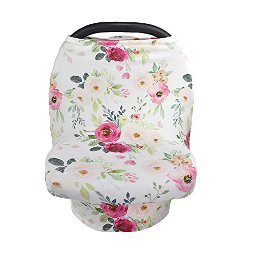 (Premium 5-in-1 Nursing Cover & Car Seat Canopy for Stroller, Shopping Cart, High Chair, Floral Scarf - by Ava + Oliver (Bright Pink Rose))