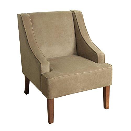 HomePop K6499 B117 Velvet Swoop Arm Accent Chair, Medium, Tan