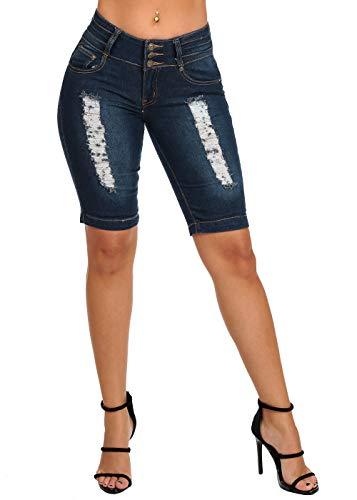 (Women's Junior Ladies Mid Rise 3 Button Butt Lifting Levanta Cola Distressed Dark Wash Denim Bermuda Shorts 10890W)