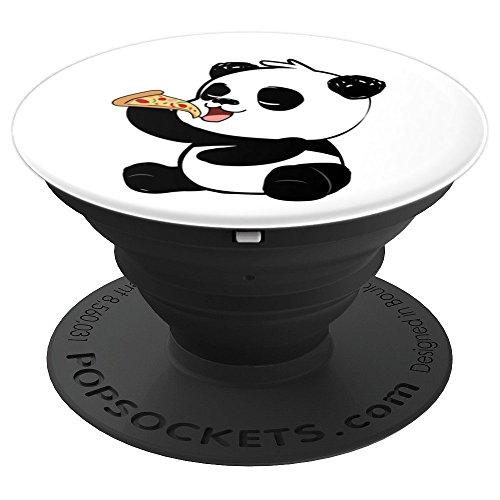Cute Panda Bear Eating Pizza - PopSockets Grip and Stand for Phones and Tablets by NipoCutie