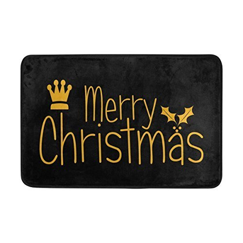 Bag shrot Entrance Doormat Merry Christmas Crown Autumn Leaves Floor Mat Non-Slip Doormat 23.6x15.7 Inch Machine Washable Polyester Fabric
