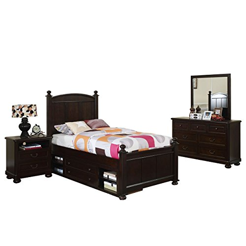 Cape Town Children's 4 Piece Twin Bed, Nightstand, Dresser & Mirror with Storage in Chestnut by NCF