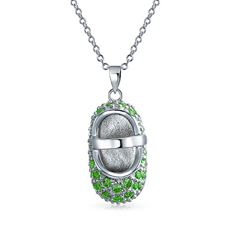 - Green Pave CZ Baby Shoe Mary Jane Style Pendant Necklace Charm Simulated Emerald Cubic Zirconia 925 Sterling Silver