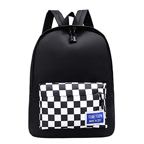MM&SS SHOP Multi Pocket Backpack/Checkerboard School Daypack/Casual Canvas Rucksack (Black & Checkerboard)