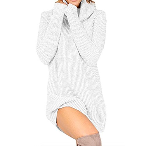 Women Cable Turtleneck Cowl Neck Long Sleeve Casual Knit Pullover Sweater Dress (Lable Size XL=US Size m, White) Crochet Halter Sweater Dress