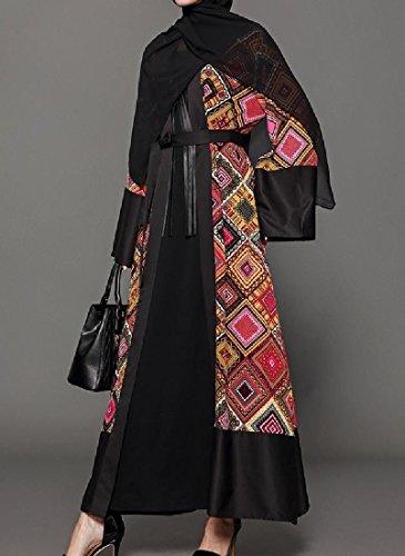 Coolred-femmes Fleurs Moulantes Imprimé Islamic Ouvert Musulman Devant Abaya Comme Image