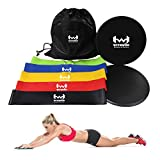 Cheap WITHWOD CORE WORKOUT SLIDER GLIDING Dual-Sided DISCS WITH RESISTANCE BANDS (SET OF 5) | Various Level and Floors Workout | Strength Ankle Straps | Home Exercise & Gym Fitness
