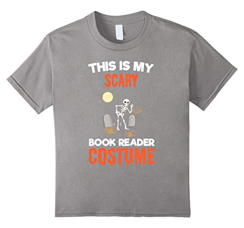 Kids This Is My Scary Book Reader Costume T-Shirt 12 Slate