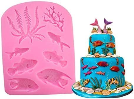 Sprießen 3 pièces Moule sirène Moule Coquillage, Silicone Fondant Moule, moulle Silicone Patisserie pour la décoration de gâteaux, Chocolat, gelée, Bonbons