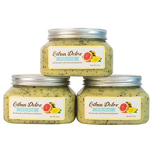 (Premium Citrus Body Scrub Trio with Fine, Organic Sonoma Sea Salt, Therapeutic Shea Butter, Poppy Seeds For Dry Skin. Moisturizing Bergamot, Pink Grapefruit & Tangerine Oils Leave You)