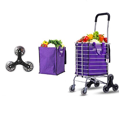 Zehaer Portable Trolley, 35L Stair Climbing Shopping Cart, Household Sturdy Trolley Trailer, Portable cart with Aluminum Alloy Frame, Foldable Trolly (Size : F) by Zehaer (Image #1)