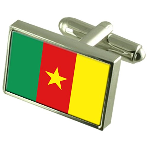 Cameroon Sterling Silver Flag Cufflinks in Engraved Personalised Box by Select Gifts