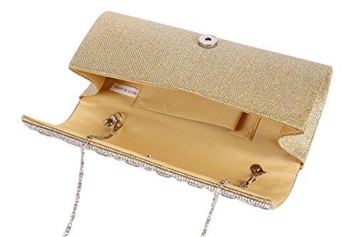 Damara Party Womens Sparkling Pleated Evening Silver Wedding Rhinestones Bag PTPCKrq