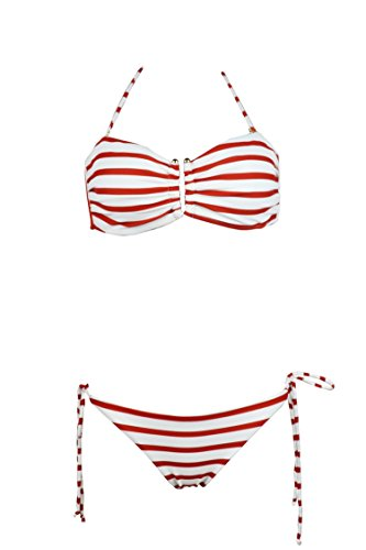 (Jonathan Swim Women's Stripe Printed Bandeau Push Up Padded Bikini Top Bikini Swimwear(XS))