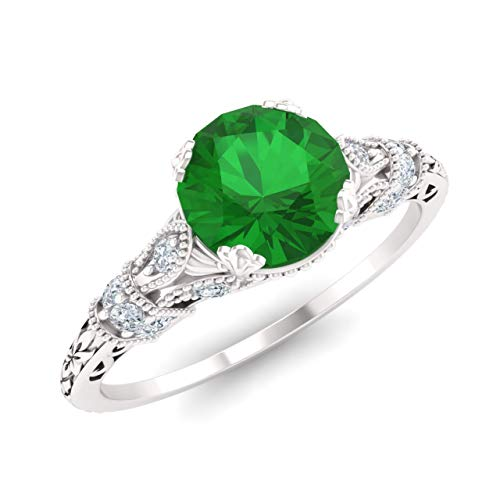 Diamondere Natural and Certified Emerald and Diamond Engagement Ring in 14K White Gold | 1.11 Carat Art Deco Engagement Ring for Women, US Size 6