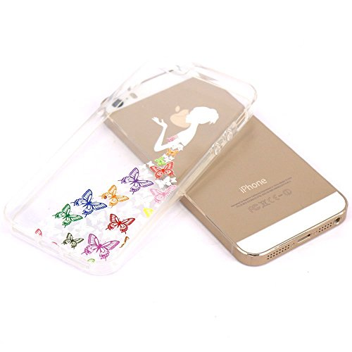 ZXLZKQ Coque pour iPhone 4 / 4SEtui Soft TPU Silicone Housse Case Series Apple Butterfly Girl Blanc Colorées Coque pour Apple iPhone 4 / 4S(non applicable iPhone 5)