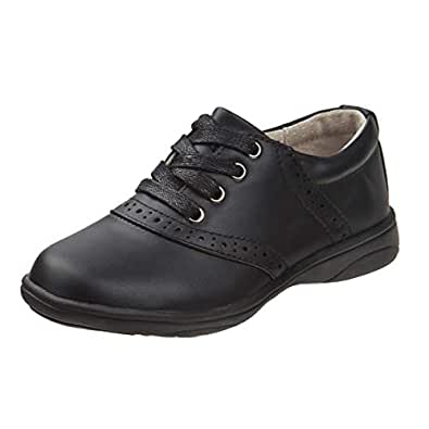 Laura Ashley Girls' Lace Up School Uniform Saddle Shoes (Little Kid/Big Kid) Black Size: 1 Little Kid