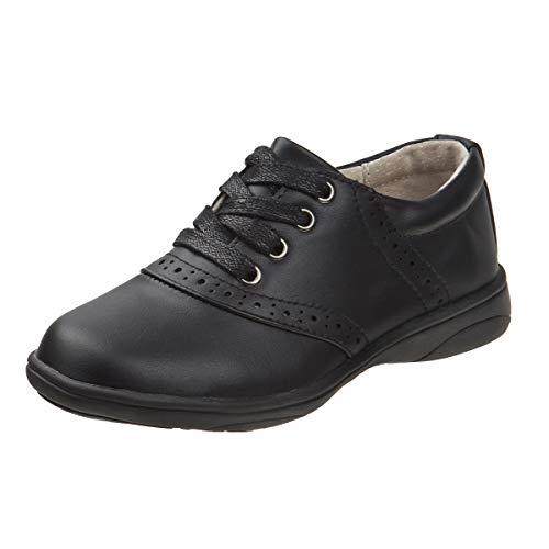 Laura Ashley Girls' Lace Up School Uniform Saddle Shoes (Little Kid/Big Kid), Black, Size 11 M US Little Kid' -